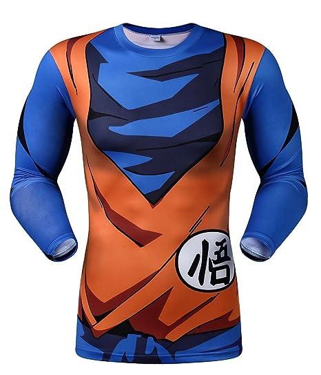 d17e033ccff Men s Anime Dragon Ball Z T-Shirt Cosplay Shirt Long   Short Sleeve Shirt  Compression Shirt Comic Tee Shirt (UK(8-10)