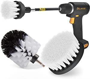 Holikme 4Pack Drill Brush Power Scrubber Cleaning Brush Extended Long Attachment Set All Purpose Drill Scrub Brushes Kit for Grout, Floor, Tub, Shower, Tile, Bathroom and Kitchen Surface White