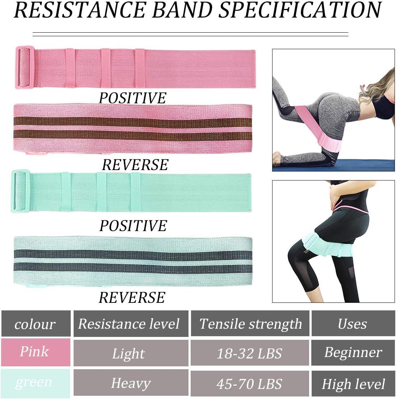 Yoga SGMY Regolabile Bande Elastiche di Resistenza Pilato Fitness Rosa e Verde 2 Elastico Fitness Fasce Resistenza Fasce per Esercizi Antiscivolo per Allenamento Femminile