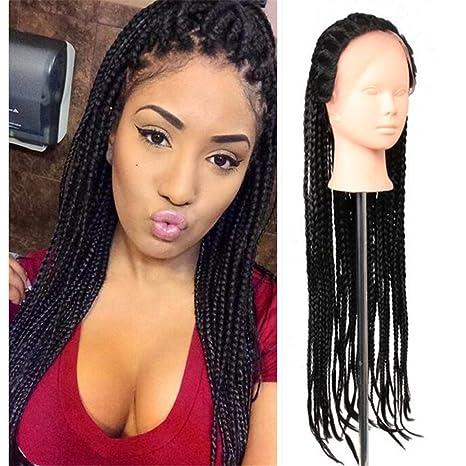 énorme inventaire choisir authentique grandes variétés Eunice Braid Afro-Américaine Femmes 32 Pouces Synthétique Lace Front  Perruque 81,3 CM Box Braids Wigs Noires