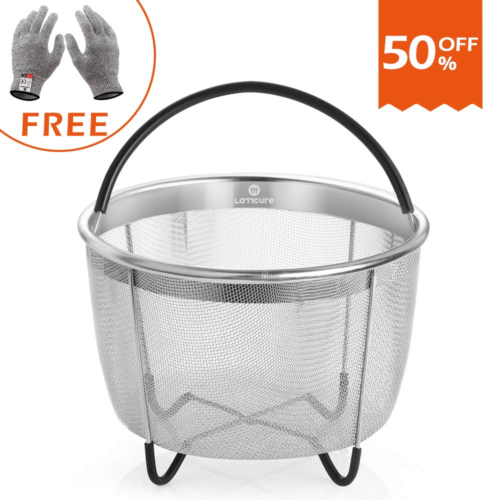 LATTCURE Insant Pot Accessories Steamer Basket 6 qt, Food Grade Stainless Steel Pressure Cooker Steam Basket for Vegetable with Silicone Handle/Non-slip Legs Fits IP InstaPot by LATTCURE (Image #1)