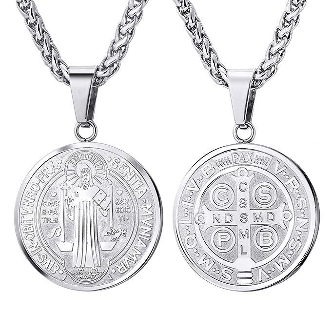 596d3487fbb U7 mujer acero inoxidable medalla de san benito colgante collar amuleto  joyería afortunada