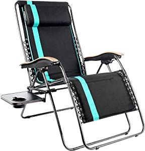 PORTAL Oversized Padded Zero Gravity Chair, XL Seat Adjustable Patio Lounge Recliner Chair with Lumbar Support Pillow and Side Table Support 350lbs