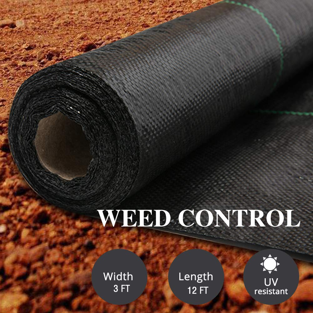 AGTEK Garden Weed Barrier Landscape Fabric 3.8oz 3x12 FT Heavy-Duty Ground Cover Eco-Friendly Weed Control Pack of 2