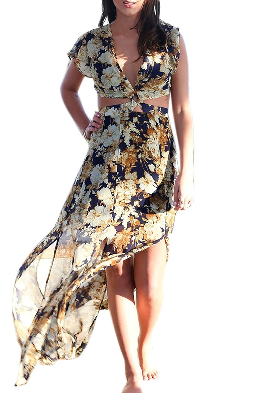 CRAVOG Sexy Damen Maxikleid Strandkleid Sommerkleid V-Ausschnitt Floral Lang Kleid