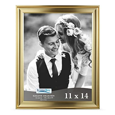 Icona Bay 11x14 Picture Frame (1 Pack, Gold), Gold Photo Frame 11 x 14, Wall Mount or Table Top, Set of 1 Elegante Collection