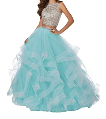 13094ee4a8cf Sexy Beaded Two Piece Prom Dresses Long Asymmetric Layered Tulle Formal  Prom Ball Gowns Aqua Blue