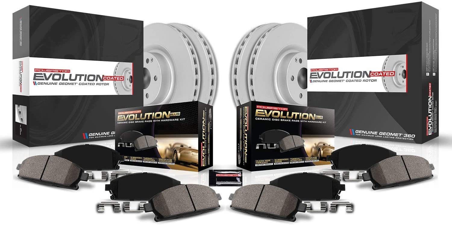 front /& rear Power Stop CRK5874 Coated Brake Rotor /& Ceramic Brake Pads
