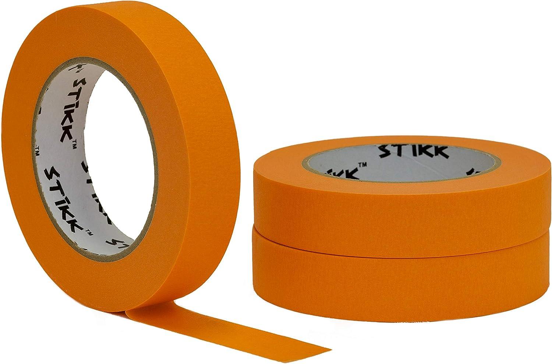 "3 pk 1"" inch x 60yd STIKK Orange Painters Tape 14 Day Easy Removal Trim Edge Finishing Decorative Marking Masking Tape (.94 IN 24MM)"