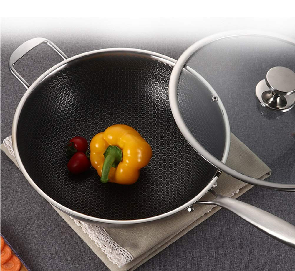 WYQSZ Wok - Multi-function household non-stick pan to reduce smoke cooking suitable for home wok delicate and durable wok -fry pan 2365 (Size : 349cm) by WYQSZ (Image #3)