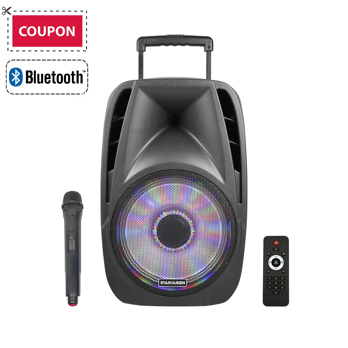 STARQUEEN 12'' Portable Bluetooth PA Audio Speaker System with Wireless Handheld Microphone, Mic/Guitar Jack, USB/SD/FM Radio Function, Telescoping Handle & Wheels, Black