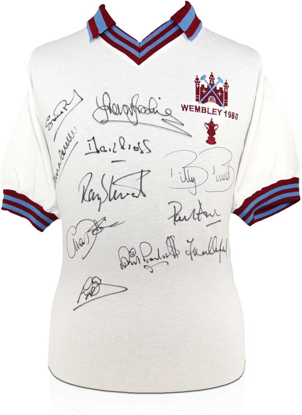 Camiseta de fútbol West Ham firmado por el FA Cup 1980 Squad Ganar: Amazon.es: Deportes y aire libre