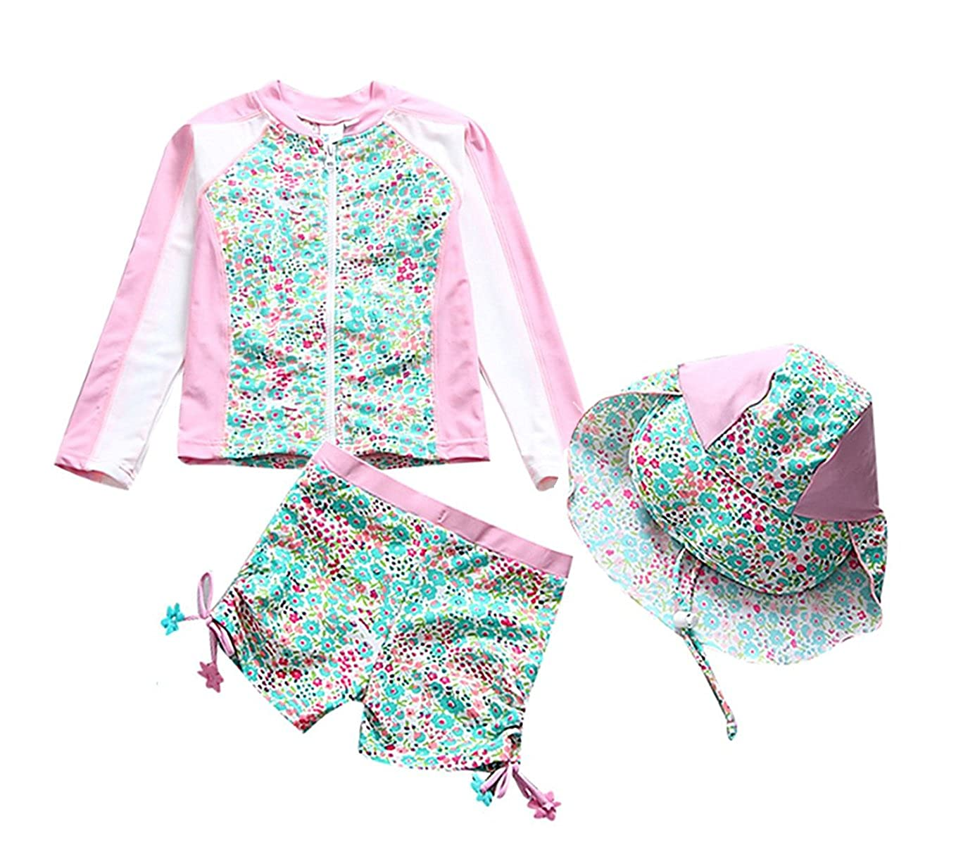 Girls Long Sleeve Swimsuit Kids Two Pieces Rash Guard Sunsuit With Hat UPF 50+UV