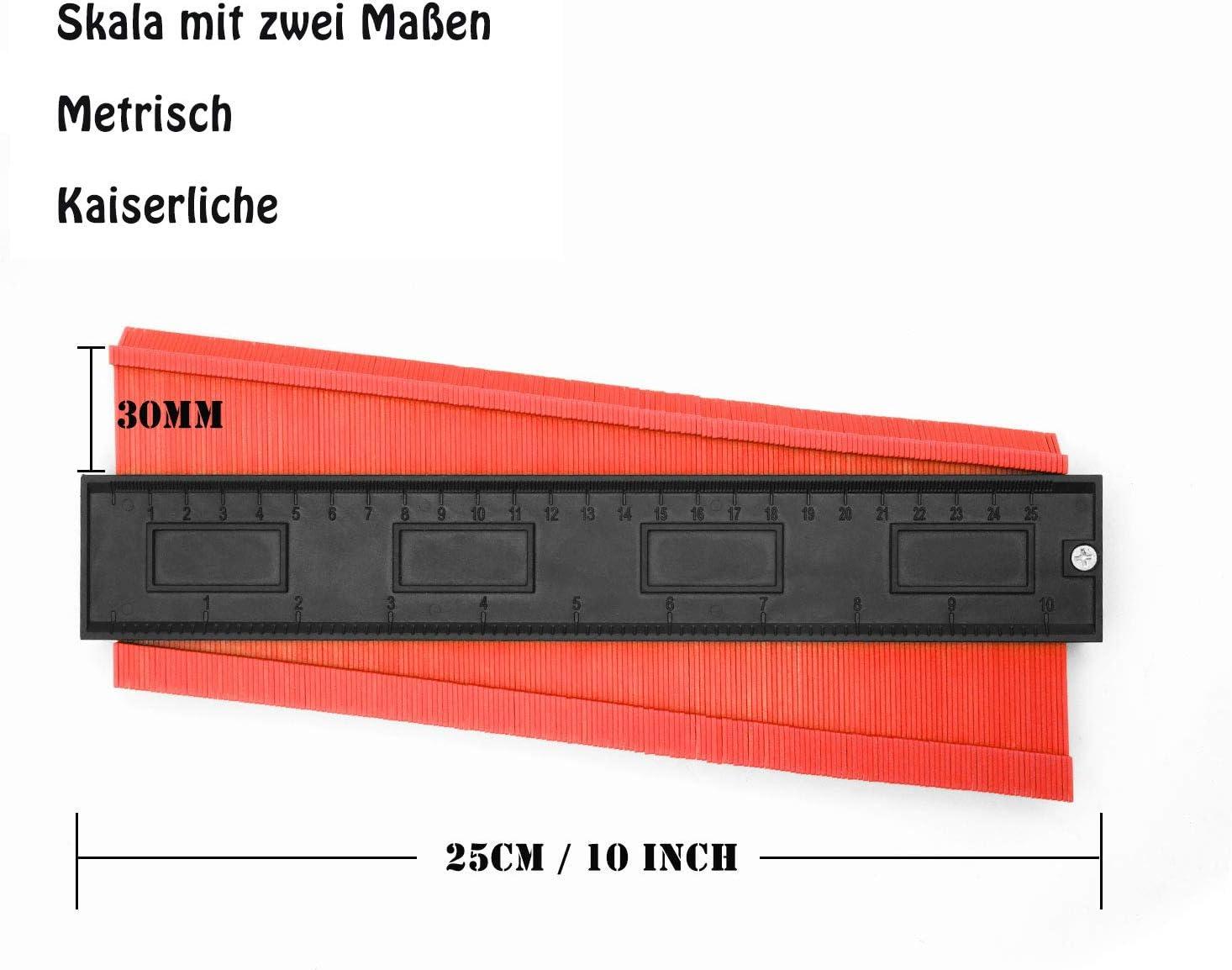 Copieur de Contour Jauge de Contour de 130mm avec ruban /à mesurer Copiez avec pr/écision les formes irr/éguli/ères pour un ajustement parfait et un outil de marquage du bois stratifi/é