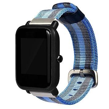 samlike Reloj Deportivo Para Nylon pulsera para Xiaomi huami amazfit Bip jugenduhr, azul
