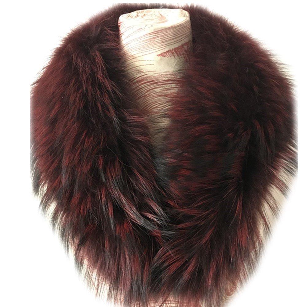 真アライグマ毛皮の襟マフラー生きgegefur女子6色 B07DFDB8VJ 80cm|Wine Red-1 Wine Red-1 80cm
