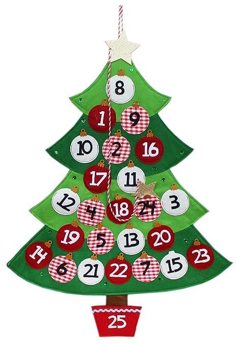 Calendario Dellavvento In Feltro.Albero Di Natale Calendario Dell Avvento In Feltro Con