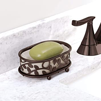 Vanilla and Bronze Kitchen 3.6 x 5.5 x 1.7 Shower Bar Holder Tray for Bathroom Counter iDesign Twigz Soap Saver