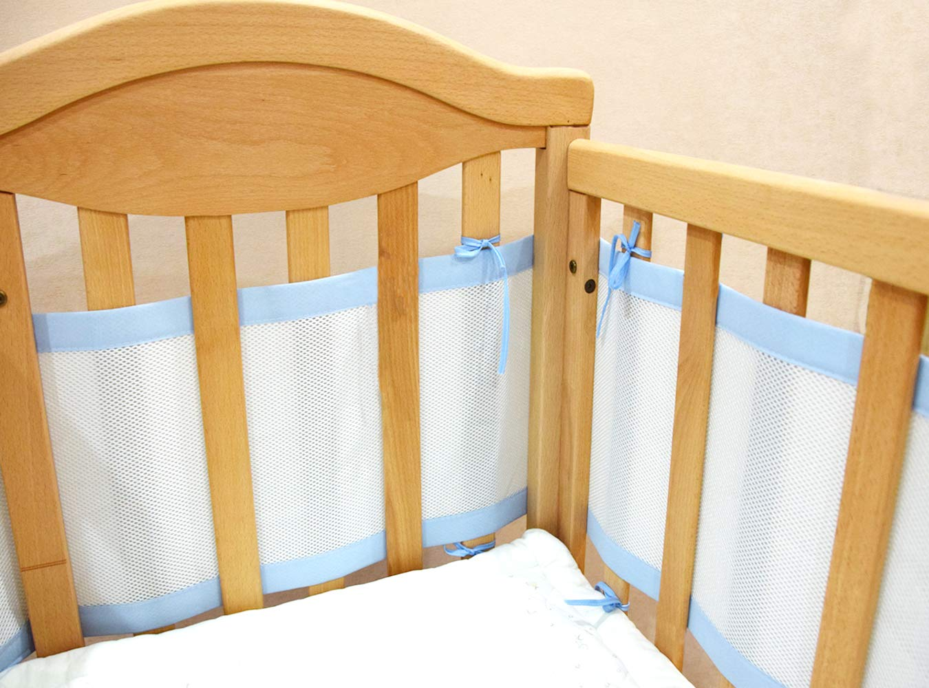 Breathable Mesh Crib Liner. Prevents Babies from Getting Stuck in Crib Slats, Blue