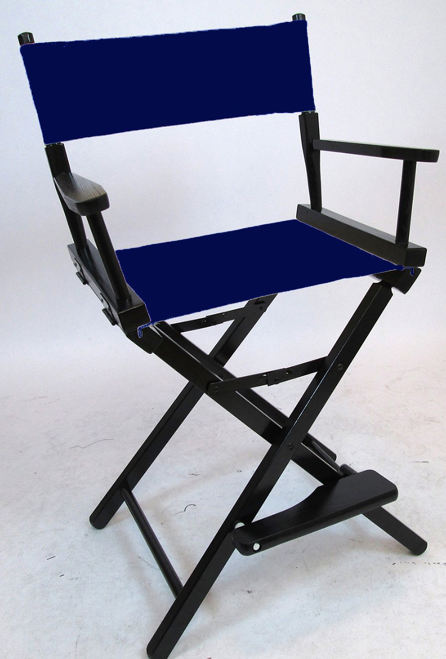 Gold Medal 24'' Counter Height Black Frame Directors Chair (Navy Blue) by Gold Medal