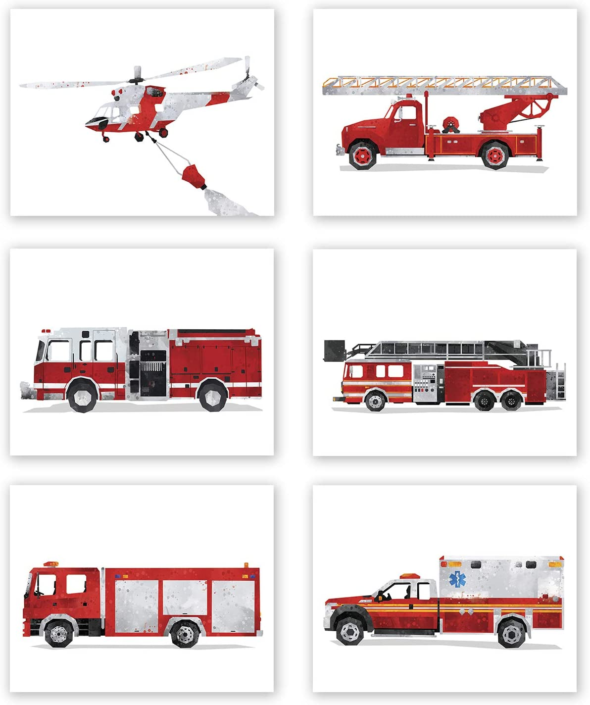 Fire Truck Decor - Set of 6 Prints // Firetruck Nursery Posters // Fire Engine Birthday Party Decoration // Transportation Wall Art for Boy Toddler Bedroom Picture // Ambulance // Rescue (8x10, Set 6)