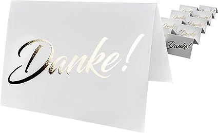 Jubil/äum Hochzeit Danke als goldene gl/änzende Hei/ßpr/ägung codiarts Firmung Geburt Danke sagen 10 Dankesklappkarten 10 Umschl/äge wei/ß Geburtstag
