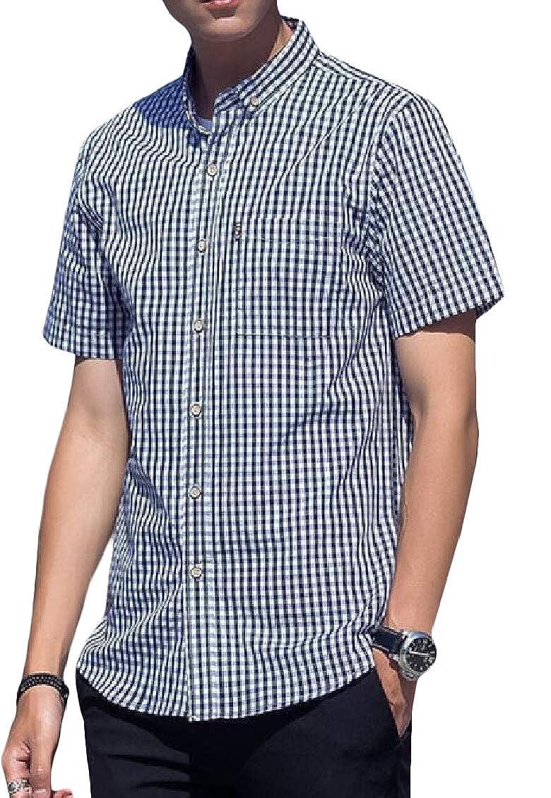 Hajotrawa Mens Plaid Casual Summer Lapel Short Sleeve Button Up Shirts