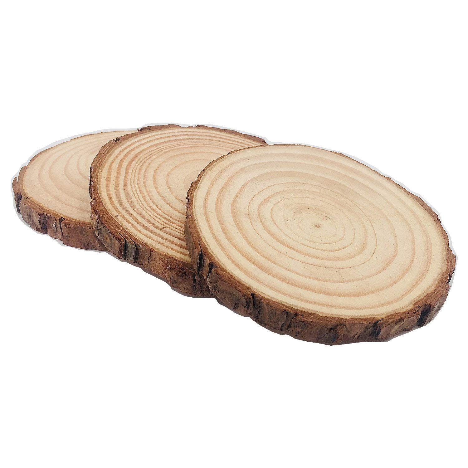 MUPIANLX Natural Wood Slices with Tree Bark Unfinished Round Wooden Discs for Crafts Coasters DIY Ornaments 15pcs 3.5 4
