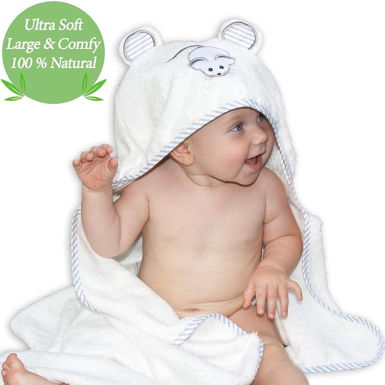 ASCIUGAMANO CON CAPPUCCIO DI LUSSO BABY by Liname - Antibatterico e ipoallergenico - Extra morbido per mantenere il bambino caldo e accogliente - Extra grande, 100 x 70 cm, per neonati e piccini 112233