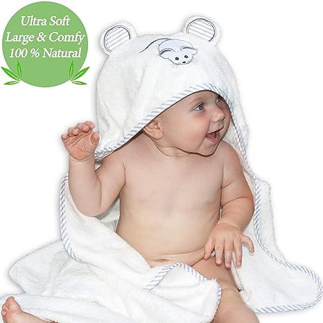 Lujosa toalla de baño para bebé con capucha de Liname - Antibacteriana e hipoalergénica - Extra suave para mantener el bebé calentito y cómodo - Extra ...