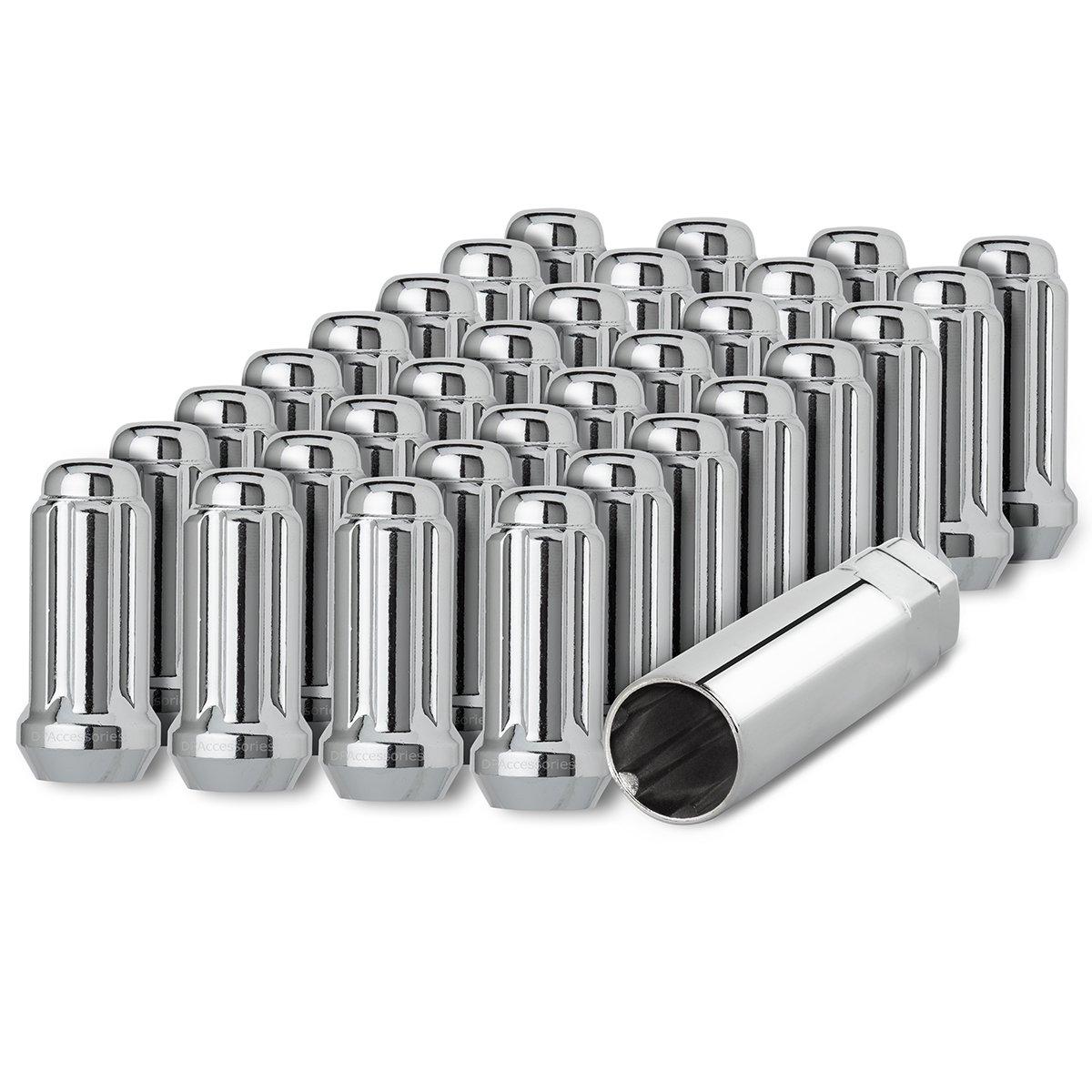 DPAccessories D5118-2305/32 32 Chrome 14x1.5 Closed End Duplex XL Spline Lug Nuts for Aftermarket Wheels Wheel Lug Nut by DPAccessories