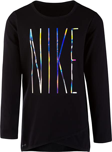 9cc8cbb863 Nike Little Girls' Sport Essentials Dri-FIT Crossover Tunic Long Sleeve  Shirt (Black