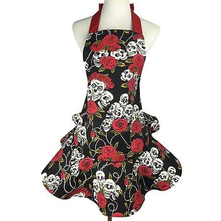 LianLe Mujer Calavera y rosas falda lienzo delantal de la cocina ...
