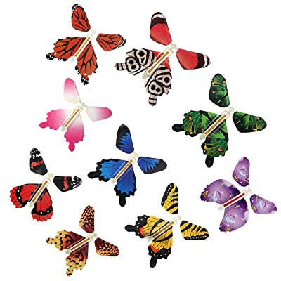 RINHOO 2-100Pcs Magic Fairy Flying in The Book/Card Butterfly Rubber Band Powered Wind Up Butterfly Toy Great Surprise Wedding Birthday Gift (30pcs): Toys & Games