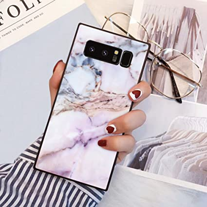 Samsung Galaxy Note 8 Square Edge Case Heavy Duty Protection Shock Absorption Slim Soft TPU Cover Pink Marble Pattern for Samsung Galaxy Note 8