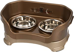 Neater Feeder Deluxe Small Dog (Bronze) - The Mess Proof Elevated Bowls No Slip Non Tip Double Diner Stainless Steel Food Dish with Stand