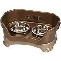 Neater Feeder Deluxe Small Dog (Bronze) - The Mess Proof Elevated Bowls No Slip Non Tip Double Diner Stainless Steel…