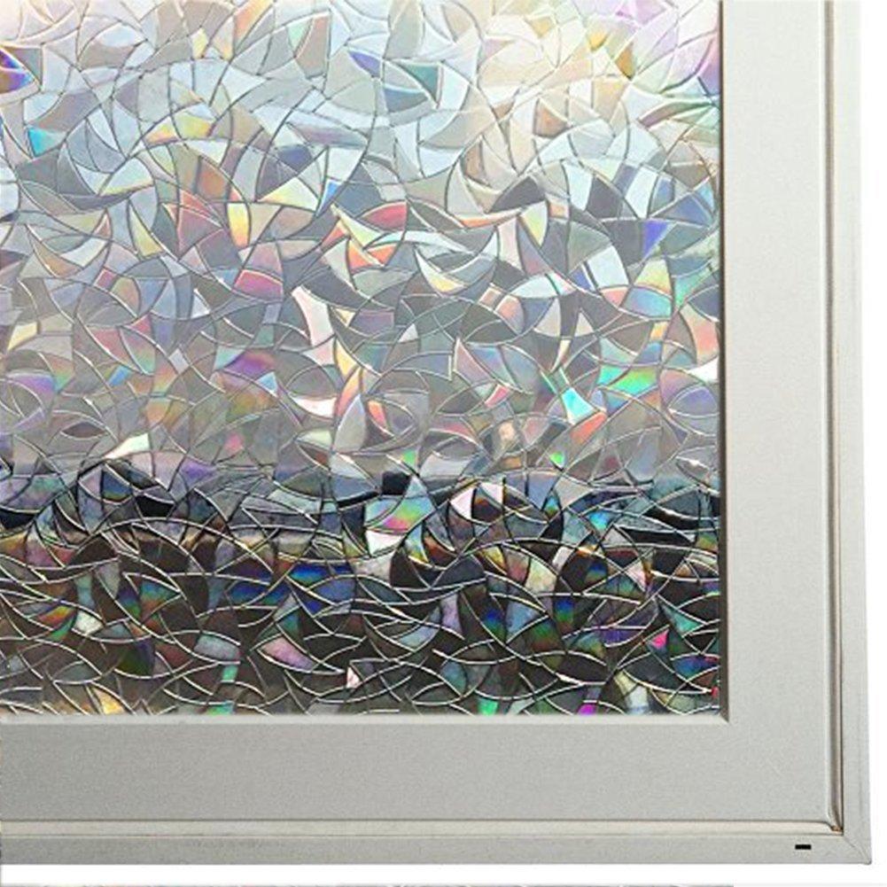 "Bloss 3D Decorative Window Film Rainbow Effect Removable Door Window Decoration Static Cling Glass Film Waterproof Window Coveing, 17.7"" x 78.7"""