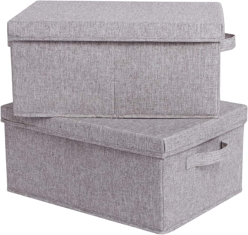 CAMEL CROWN Set of 2 Foldable Storage Boxes with Lids and Handles Large Storage Bins Cubes Containers Baskets with Removable Dividers for Home Closet Office Car Boot Clothes Files Books Warm Grey