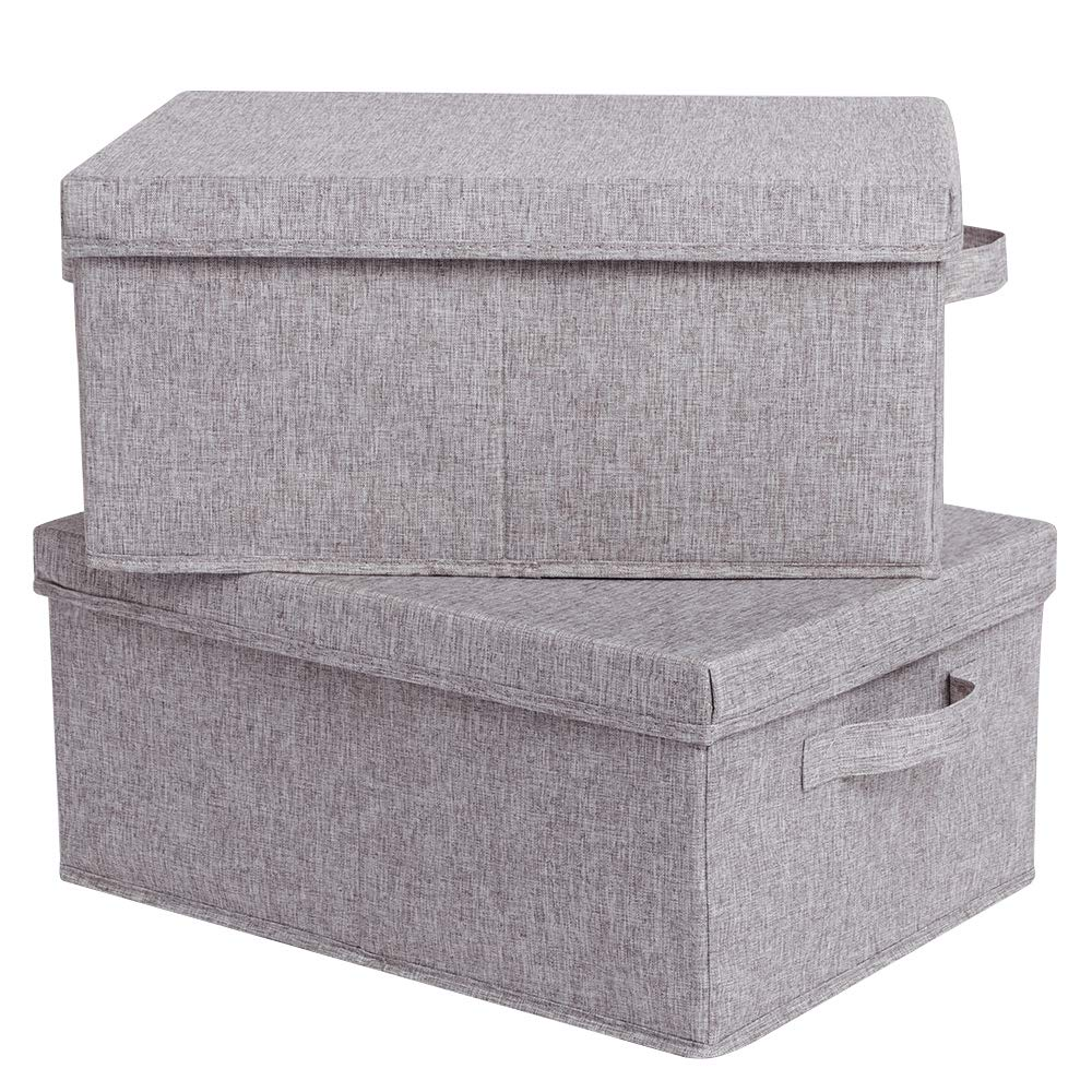 CAMEL CROWN Set of 2 Foldable Storage Boxes with Lids and HandlesLarge Storage Bins Cubes Containers Baskets with Removable Dividers for Home Closet Office Car Boot Clothes Toys Files Books Warm Grey by CAMEL CROWN
