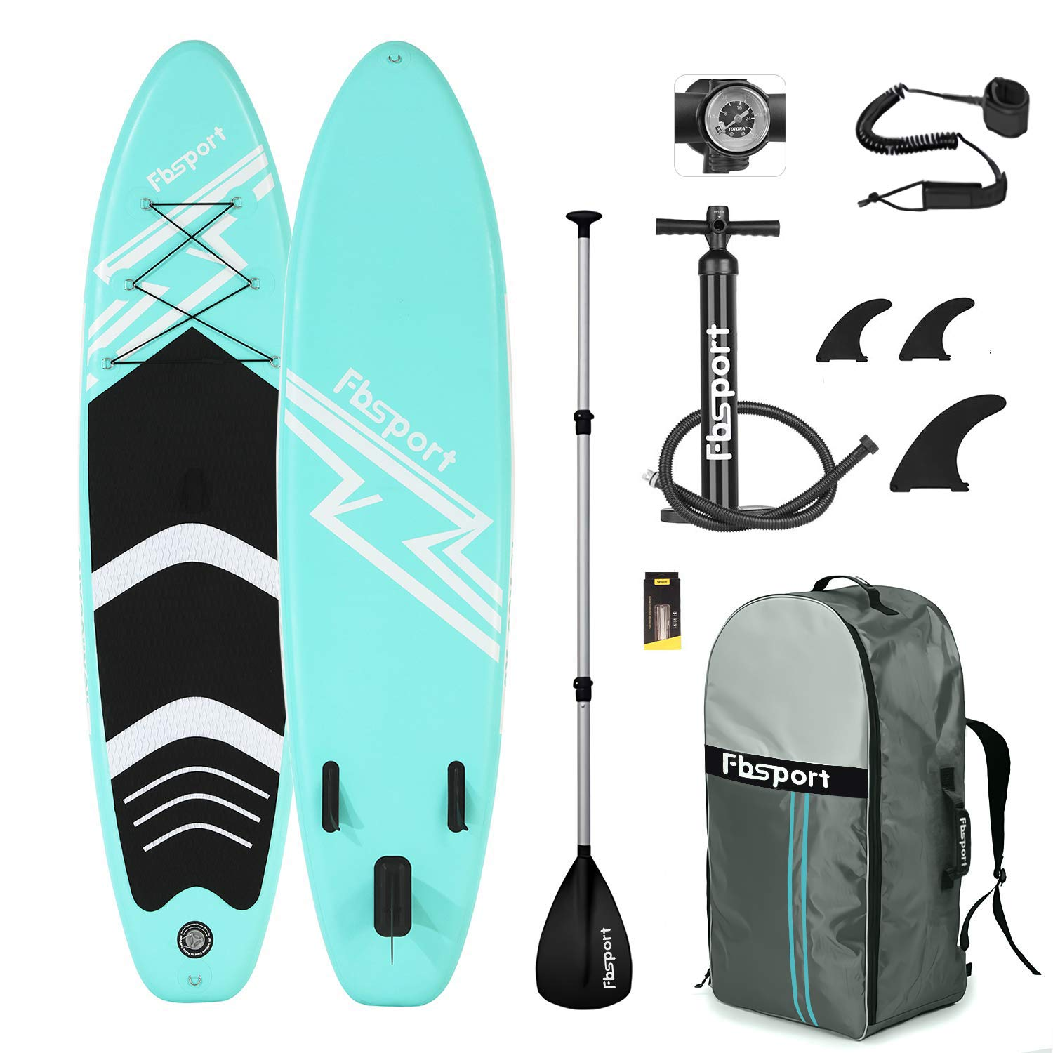 Premium Inflatable Stand Up Paddle Board (6 inches Thick) with Durable SUP Accessories & Carry Bag | Wide Stance, Surf Control, Non-Slip Deck, Leash, Paddle and Pump , Standing Boat for Youth & Adult by FBSPORT