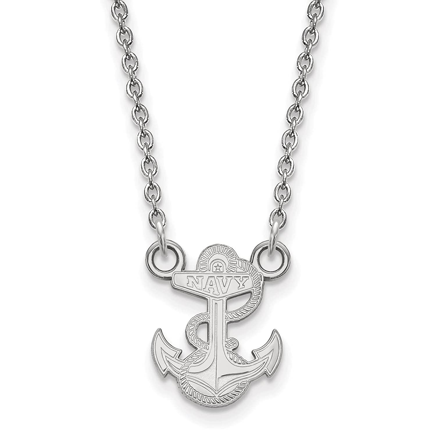 925 Sterling Silver Rhodium-plated Laser-cut United States Naval Academy Small Pendant w//Necklace 18