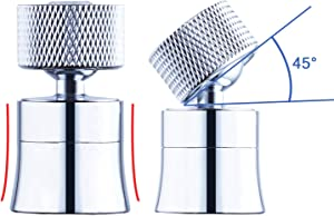 360°Swivel Faucet Aerator, Waternymph Kitchen Sink Faucet Aerator Solid Brass Dual function Bubble Stream/Strong Spray Kitchen Faucet Attachment Swivel Sprayer- Polished Chrome/ 1.8GPM