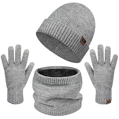 Czemo Cappello Uomo Invernale Berretto Uomo in Maglia con Sciarpa 2Pcs Inverno Caldo Cappello Knit Allaperto Peluche Ispessimento Maglia Cappello da Sci per linverno