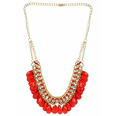 db3cc38d0d Buy Efulgenz Fashion Jewellery Red Antique Bead Designer Necklace Set with  Drop Earrings for Women Online at Low Prices in India | Amazon Jewellery  Store ...