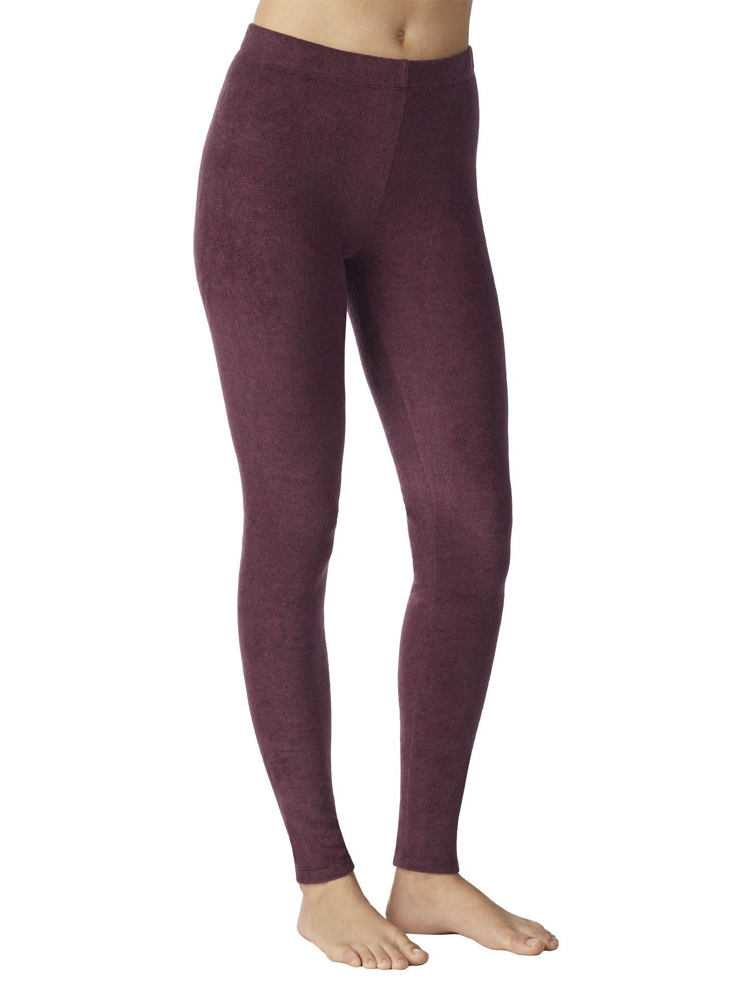 Cuddl Duds ClimateRight Womens Stretch Fleece Warm Underwear Leggings/Pants (Large, Dark Berry Heather) by Cuddl Duds