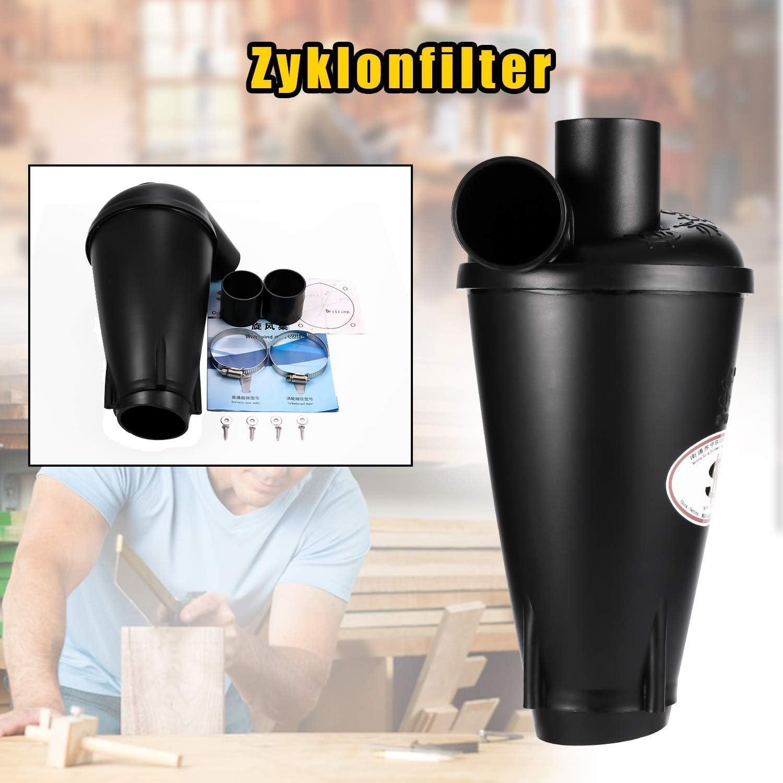 Negro-1 Cyclone Divisor Colector de Polvo Filtro de Separaci/ón para Aspiradora Separador Cicl/ónico con Base de brida