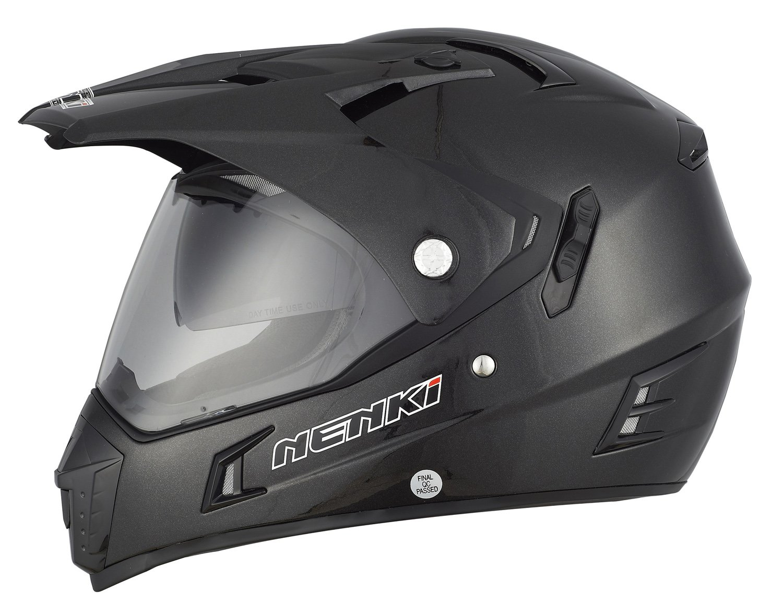 NENKI Dual Sport Enduro Motorbike Motocross Helmet NK-311,ECE Approved With Dual Visors Medium, Metal Black