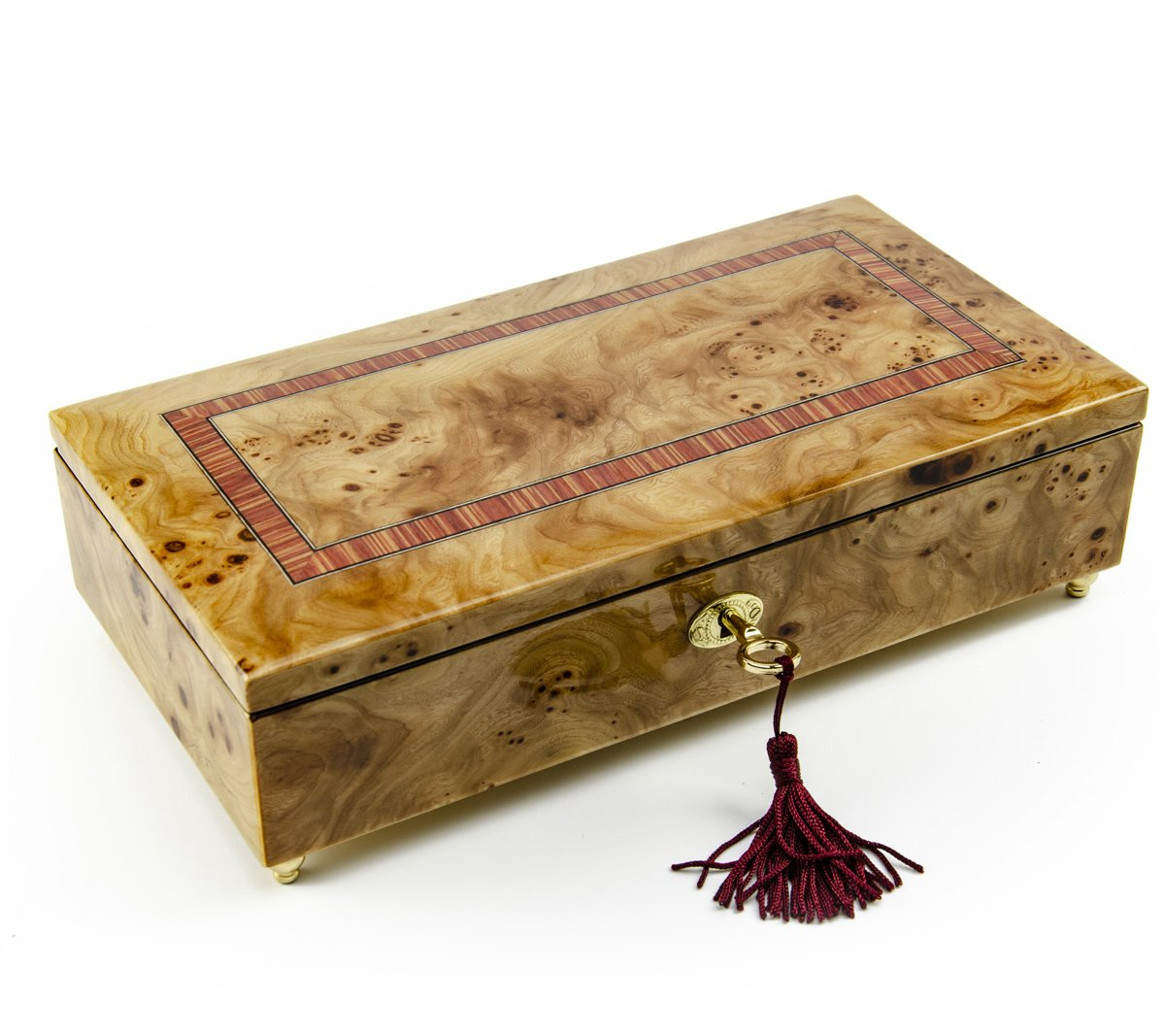Lavish Hand Made Classic Style Music Jewelry Box with Lock and Key - Over 400 Song Choices - Wedding Song (There is Love)