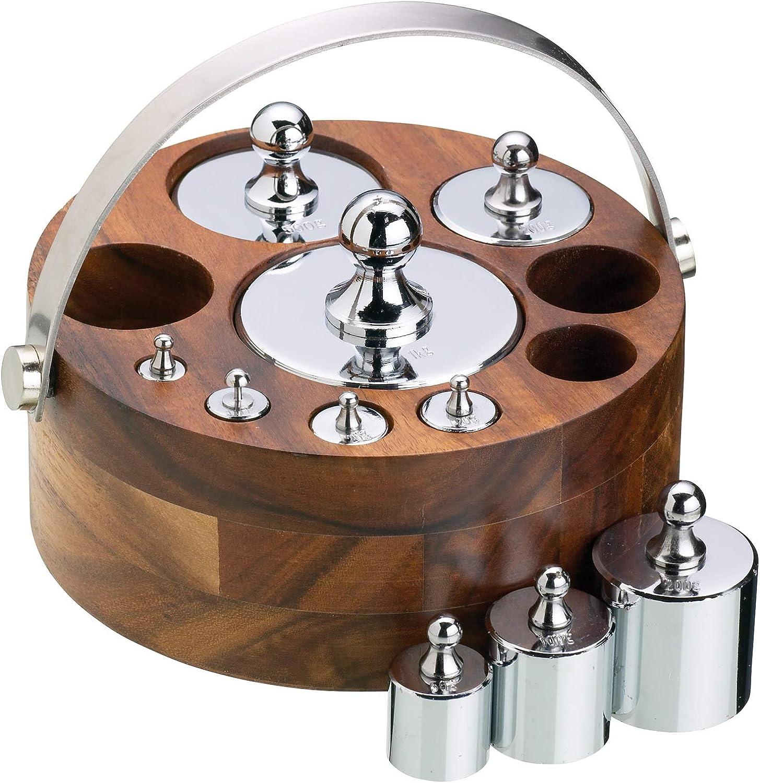 Kitchen Craft Natural Elements WS Juego de 10 Pesas Métricas con Soporte de Madera, Cromo y Marrón